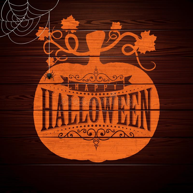 Illustration heureuse de vecteur de Halloween avec le lettrage de typographie en potiron sur le fond en bois de vintage Conceptio illustration libre de droits