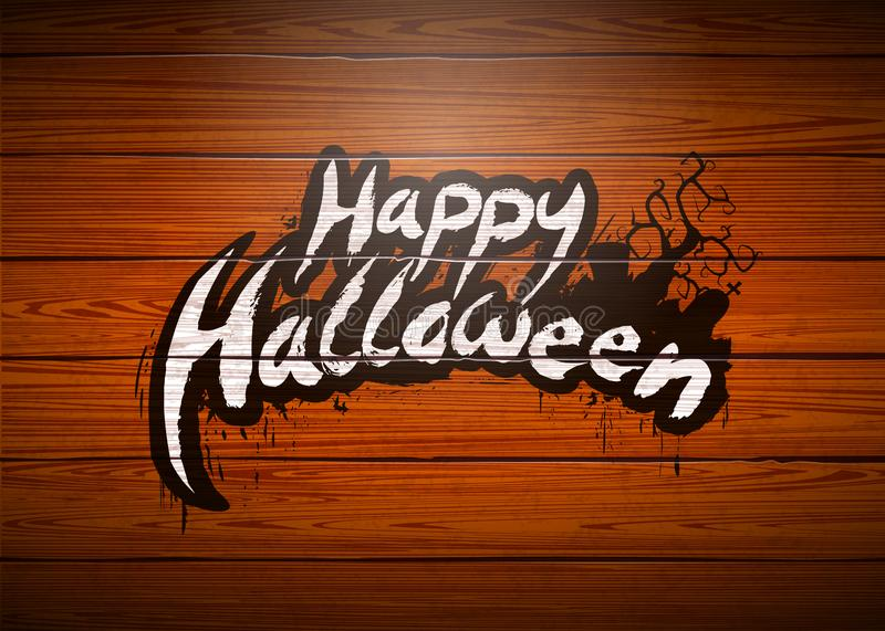 Illustration heureuse de vecteur de Halloween avec le lettrage de typographie et cimetière sur le fond en bois de vintage Concept illustration libre de droits