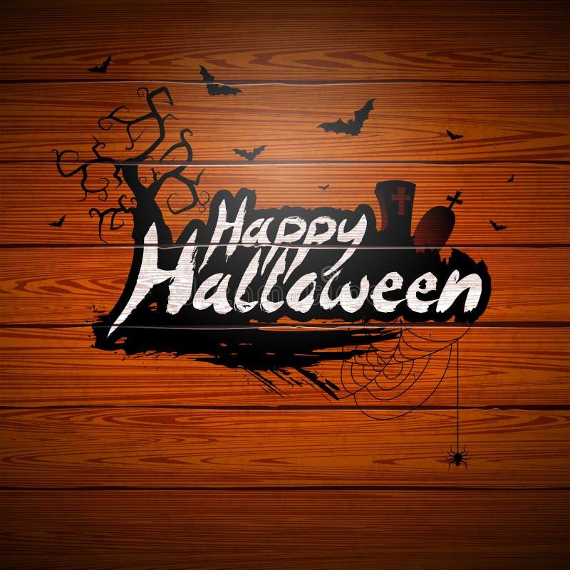 Illustration heureuse de vecteur de Halloween avec le lettrage de typographie et cimetière sur le fond en bois de vintage Concept illustration stock