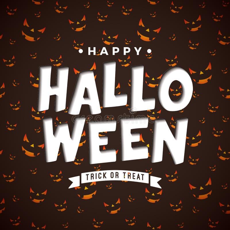 Illustration heureuse de vecteur de Halloween avec le lettrage de typographie sur le fond effrayant de modèle de visage Conceptio illustration de vecteur