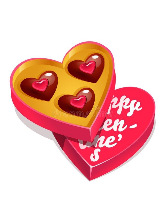 Illustration heureuse de vecteur de jour de valentines avec le boîte-cadeau de chocolat Sucrerie et boîte sous forme de coeur illustration libre de droits