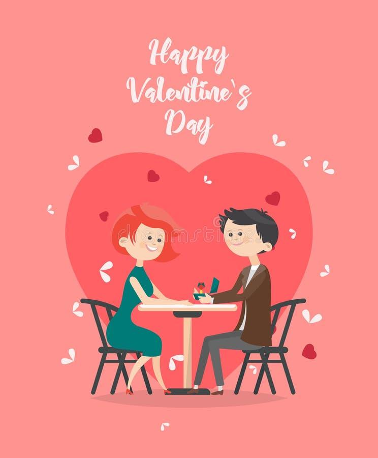 Illustration heureuse de vecteur de jour de valentines Carte de voeux avec de jeunes couples dans l'amour Fond du ` s de Valentin illustration stock