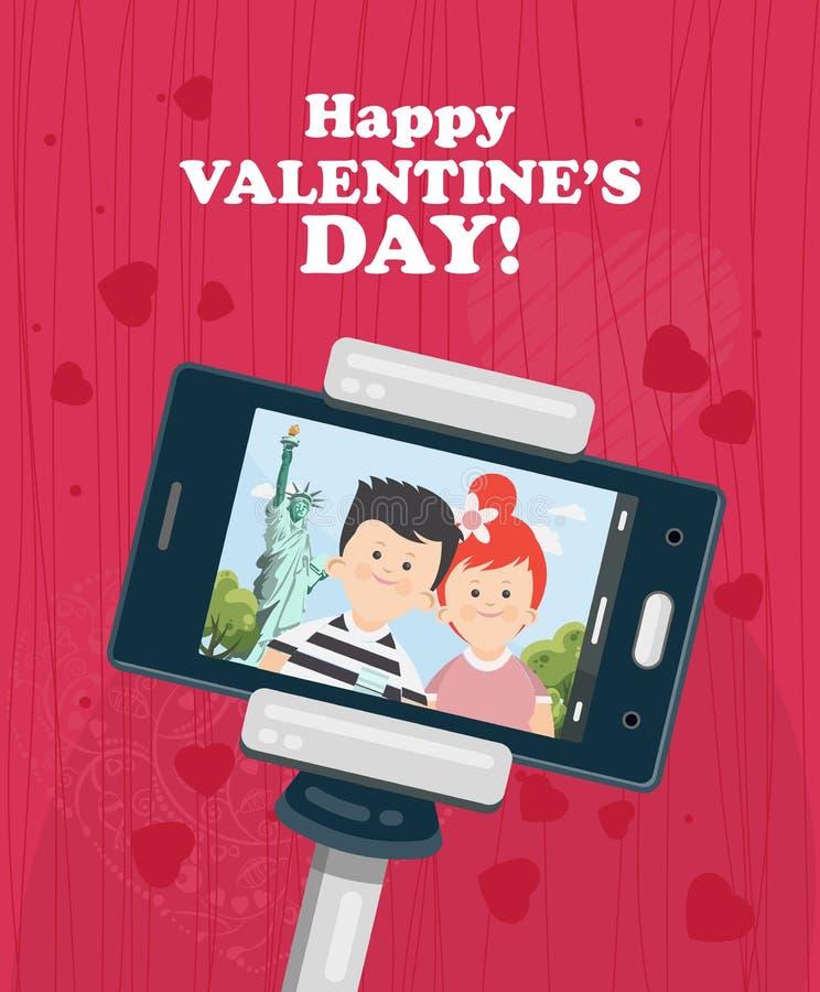 Illustration heureuse de vecteur de Valentine Day avec la femme et l'homme Selfie de jeunes couples dans l'amour à New York Datat illustration libre de droits