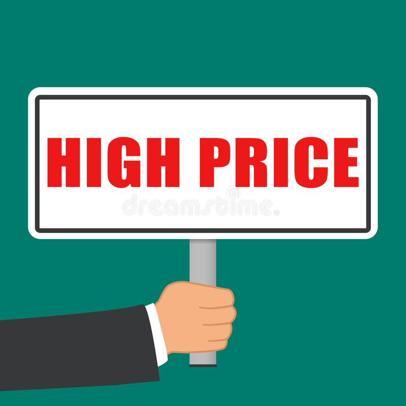 High price sign flat concept. Illustration of high price sign flat concept royalty free illustration