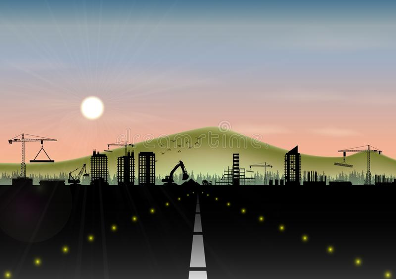 Highway with construction site and mountain landscape. Illustration of Highway with construction site and mountain landscape royalty free illustration
