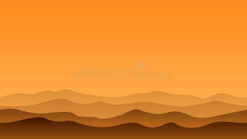 Hill Landscape in the afternoon stock illustration