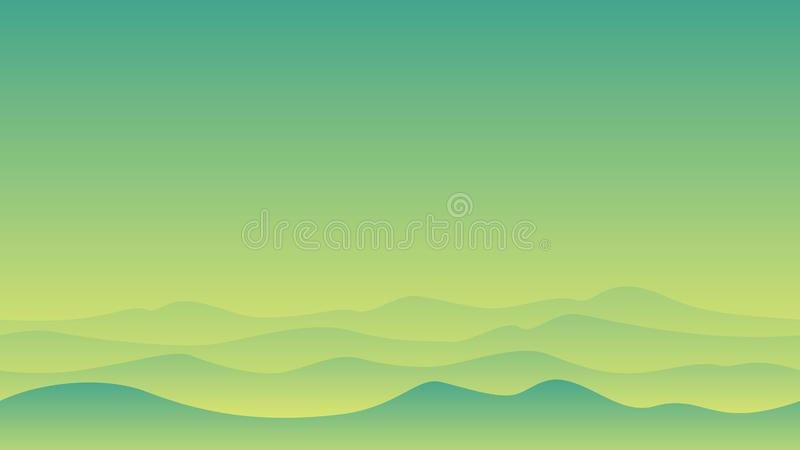 Hill landscape with green sky stock illustration