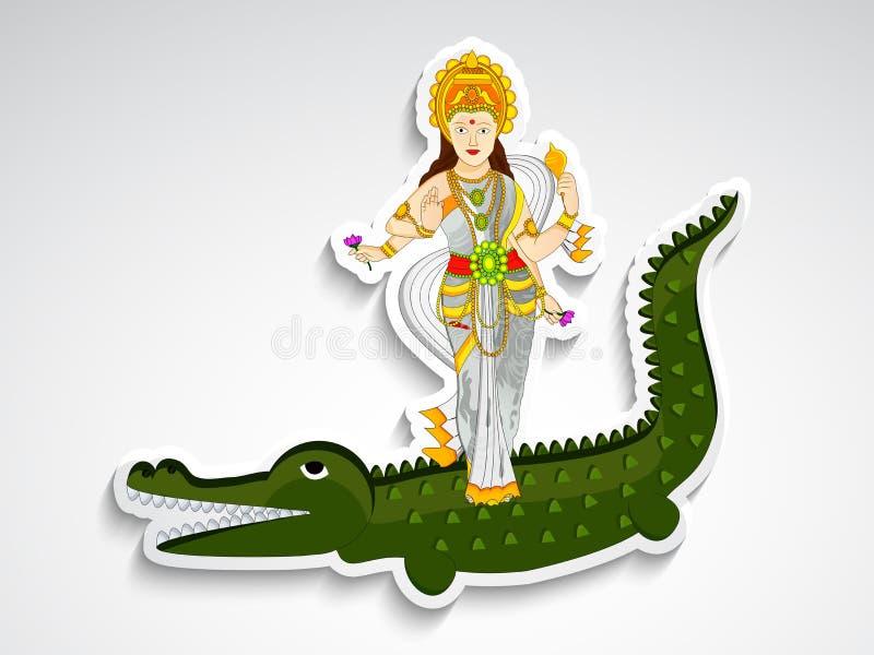 Illustration hindischen Hintergrundes Festival Ganga Dussehra lizenzfreie abbildung