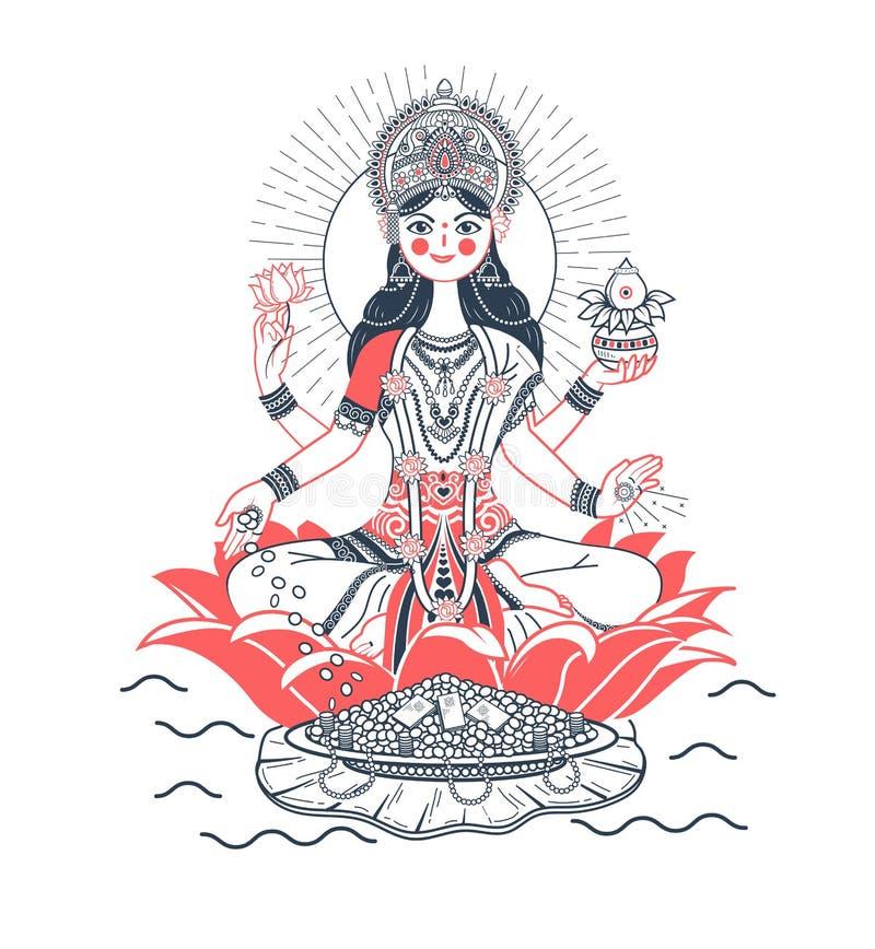 Icon godess Laxmi lotus stock illustration