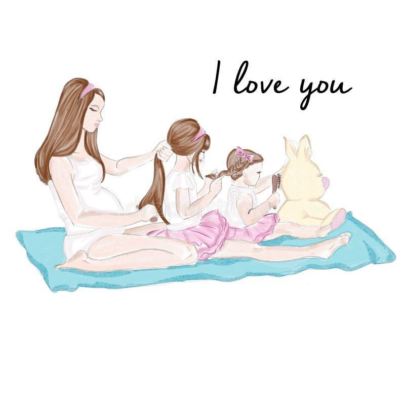 Illustration - Hintergrund - Aquarellillustration - Mama und Töchter lizenzfreie abbildung