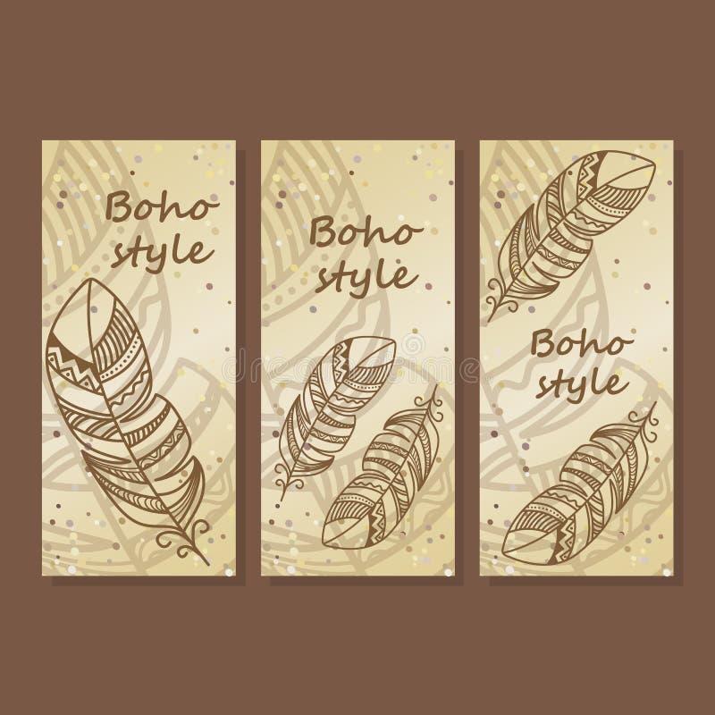 Illustration hippie et de Boho de style Découvrez l'affiche, bannière, carte de voeux d'insecte réglée avec les plumes ethniques images stock