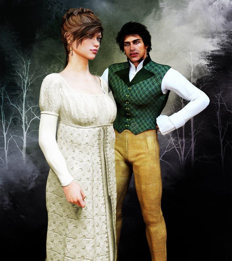 Illustration historique romantique de couples de Regency illustration libre de droits