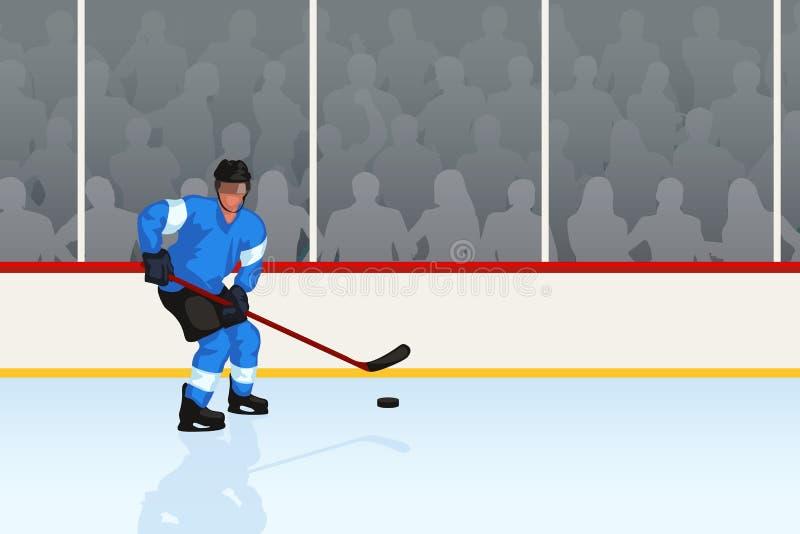 Hockey player in rink stock illustration