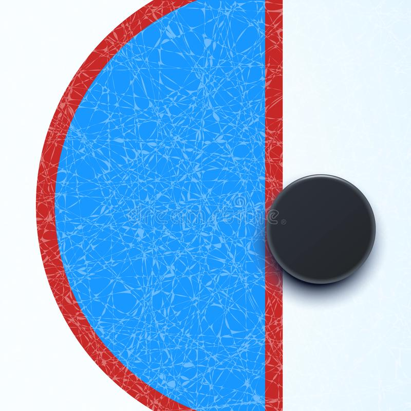 Hockey rink wth puck royalty free illustration