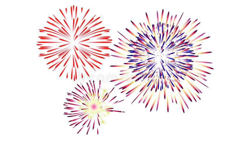 Illustration holiday fireworks on white background. Colorful, group, happy, merry, year, 2020, 2019, element, new, concept, creative, design, anniversary stock image