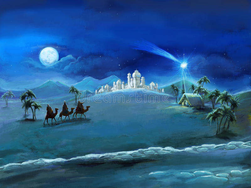 The illustration of the holy family and three kings - traditional scene - illustration for the children royalty free stock photos