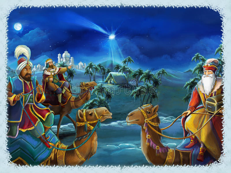 The illustration of the holy family and three kings - traditional scene - illustration for the children vector illustration
