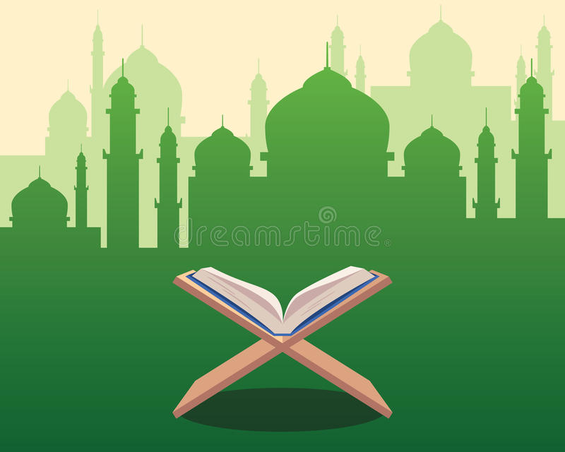 Illustration of Holy Qoran on wood table with green silhouette of a mosque with dome and towers as background stock illustration