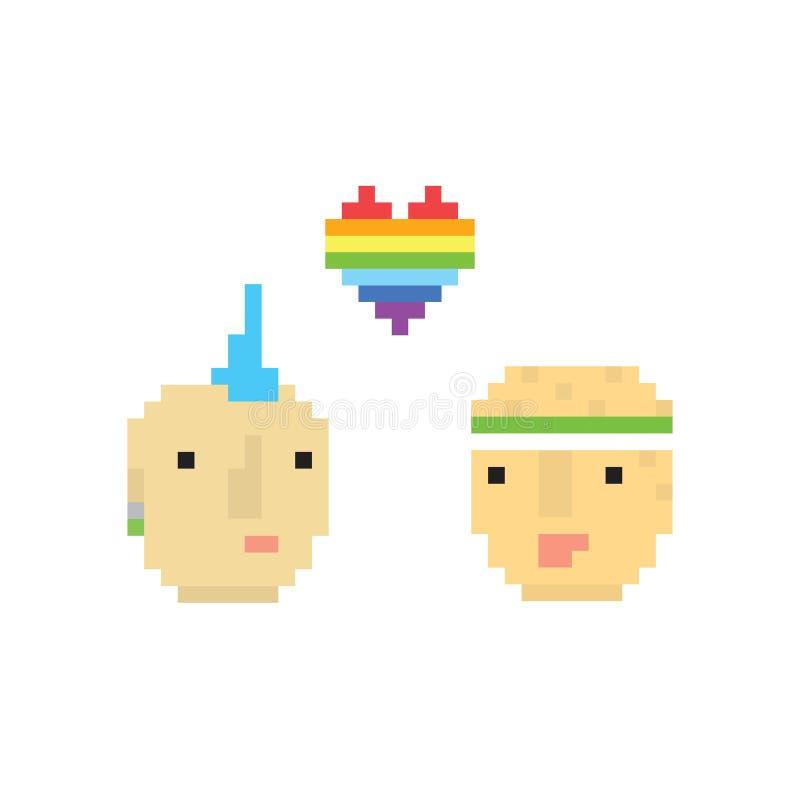 Illustration homosexuelle de garçons du style deux d'art de pixel illustration libre de droits