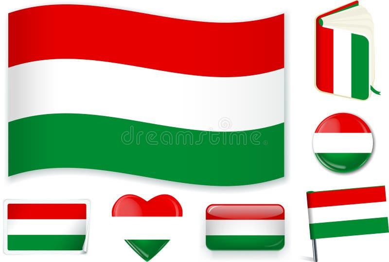 Illustration hongroise de vecteur de drapeau national dans différentes formes illustration libre de droits
