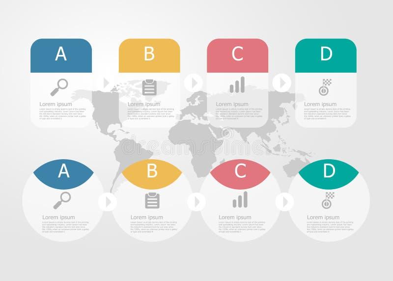 horizontal timeline infographics 4 steps for business presentation royalty free illustration