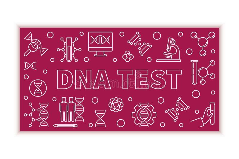 Illustration horizontale d'essai d'ADN de vecteur dans la ligne style mince illustration de vecteur