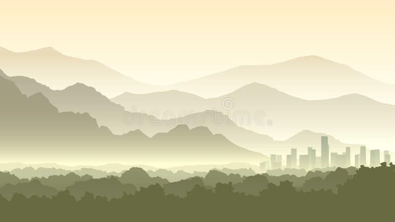 Illustration horizontale de bande dessinée de Forest Hills brumeux avec la ville illustration libre de droits