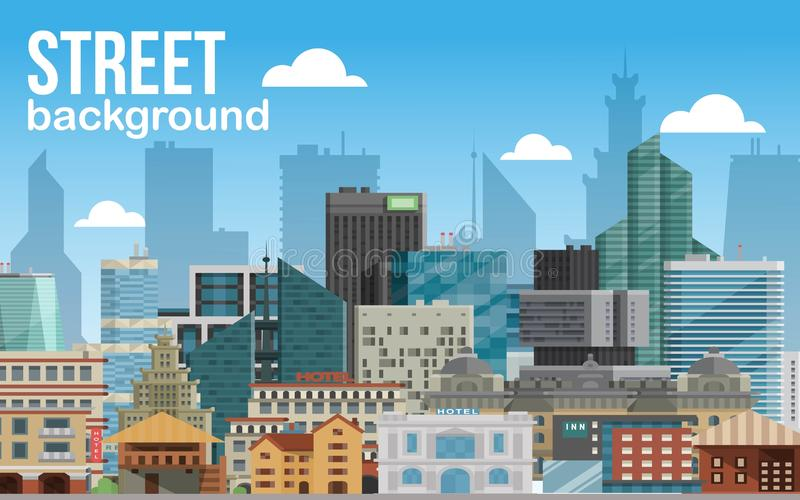 Illustration horizontale de vecteur de bannière de fond de ville de rue Horizon moderne de ville Bâtiment architectural dans pano illustration de vecteur