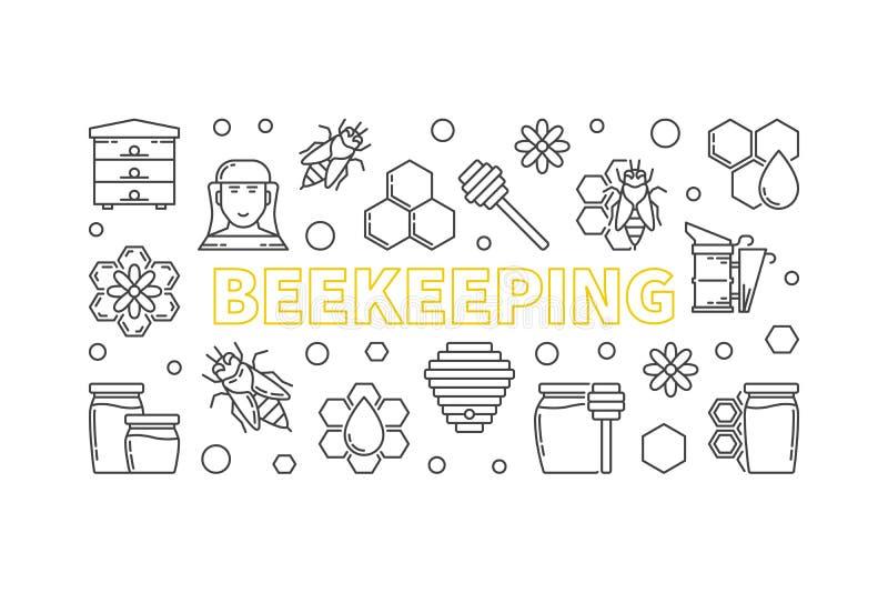 Illustration horizontale de vecteur de l'apiculture dans la ligne style mince illustration libre de droits