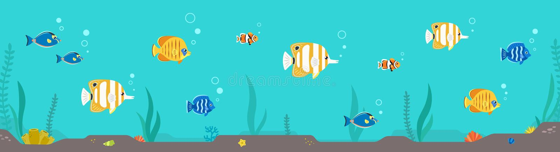 Illustration horizontale plate colorée de poissons et d'algue Partie deux illustration stock