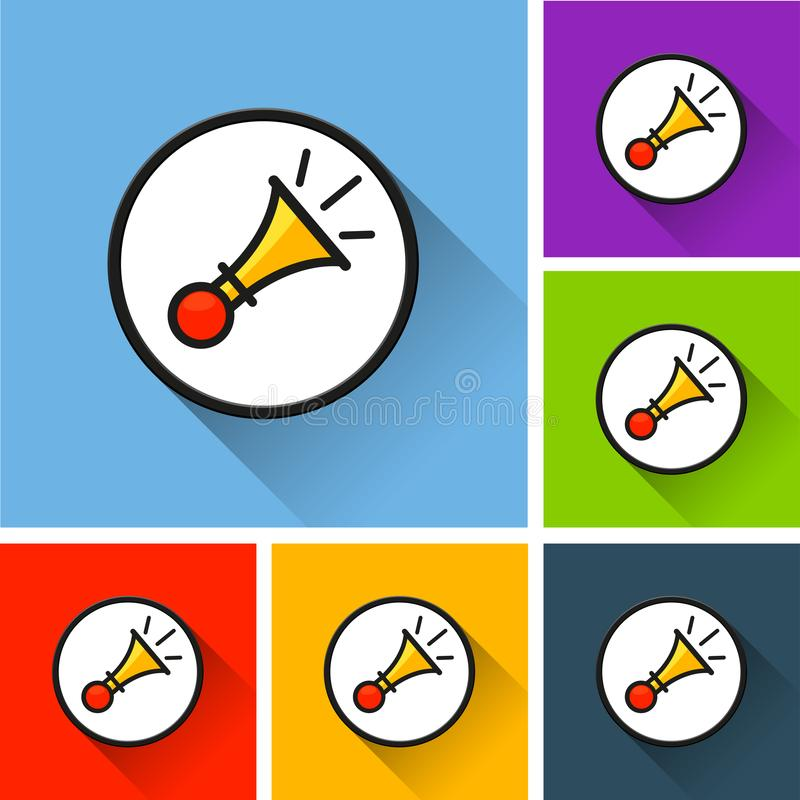 Horn icons with long shadow royalty free illustration