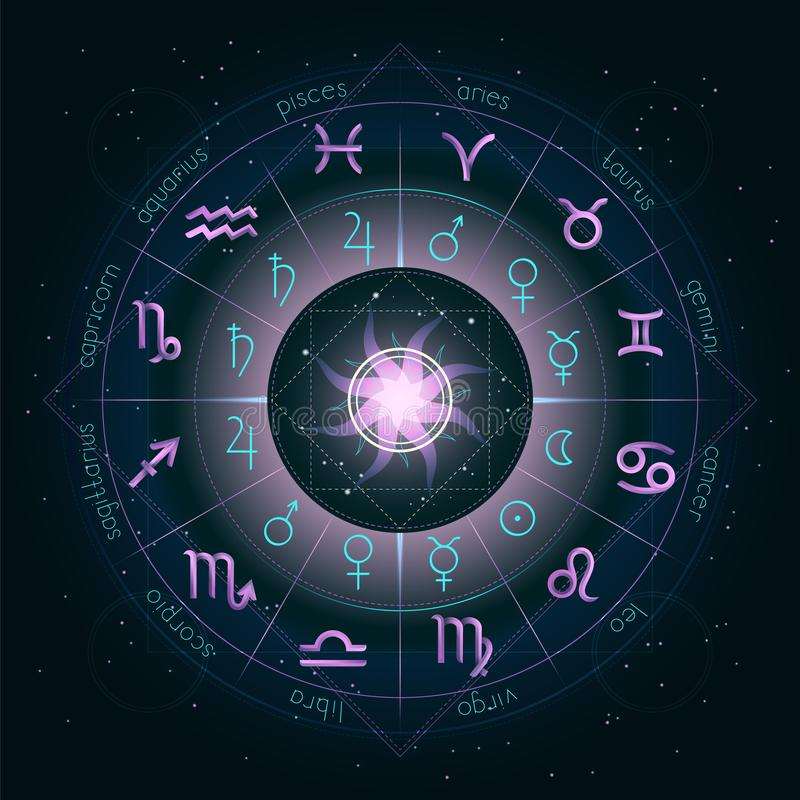 Illustration with Horoscope circle, Zodiac symbols and pictograms astrology planets on the starry night sky background with geomet. Ry pattern. Pink and royalty free illustration