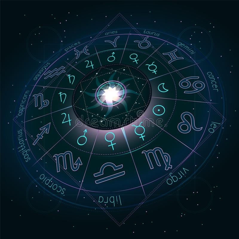 Illustration with Horoscope circle, Zodiac symbols and pictograms astrology planets on the starry night sky background with geomet. Ry pattern. Image in royalty free illustration