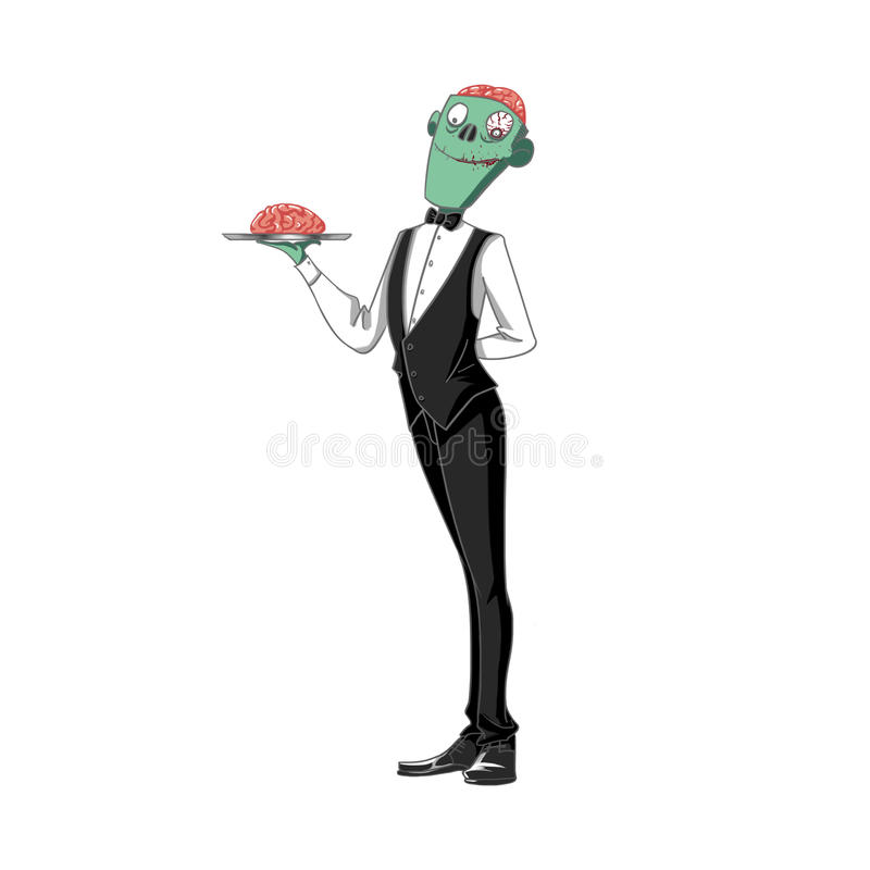 Illustration: The Horrible Brain Waiter Carrying a Brain on a Tray, on White Background. Realistic Fantastic Cartoon Style Character / Monster Design