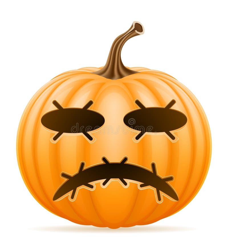 Illustration horrible de vecteur d'actions de Halloween de potiron illustration libre de droits