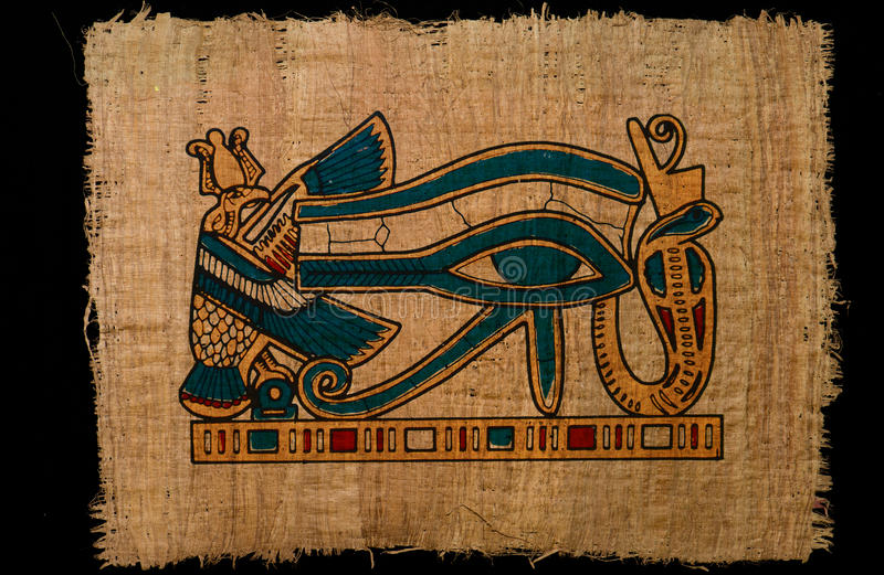 Illustration horus altes Auge auf Papyruspapier lizenzfreies stockbild