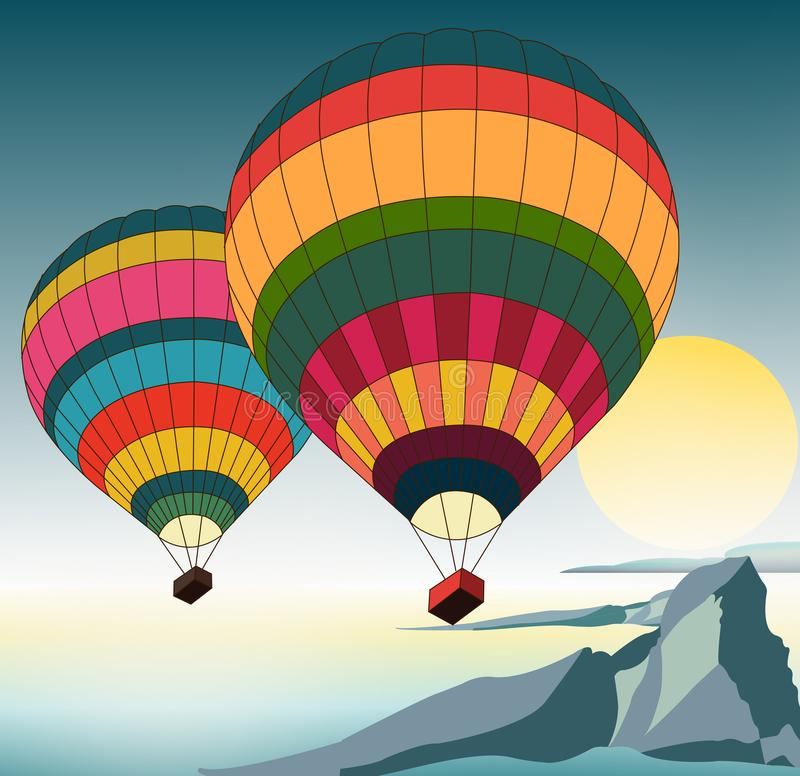 Illustration of hot air balloons. Illustration of two hot air balloons flying over over the ocean and mountains stock illustration