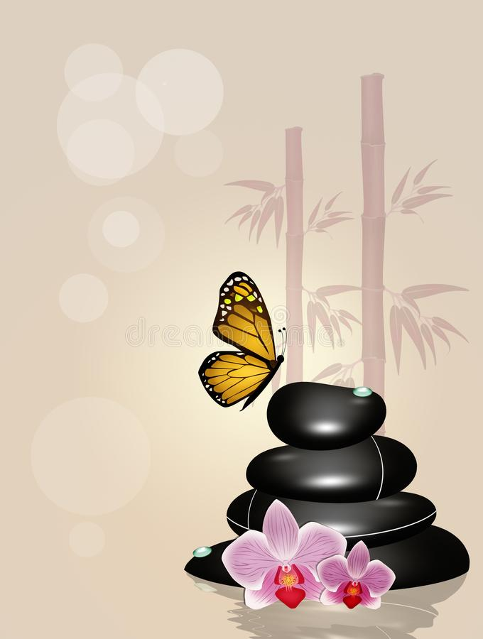 Hot zen stones. Illustration of hot stones in wellness and butterfly royalty free illustration