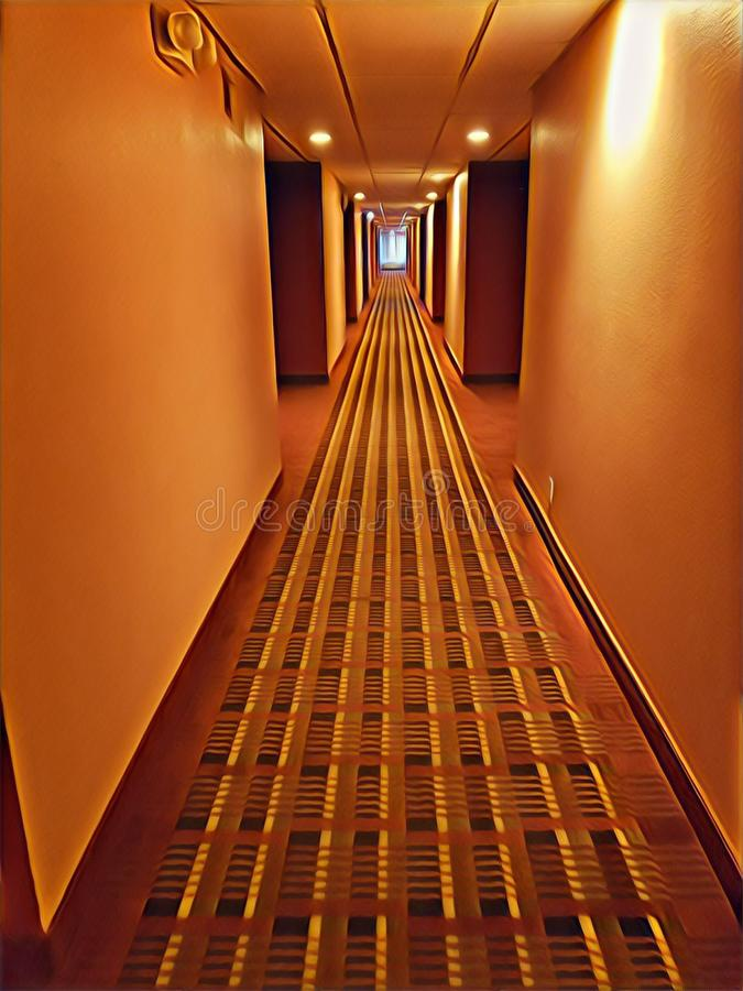 Illustration of a hotel hallway stock photography
