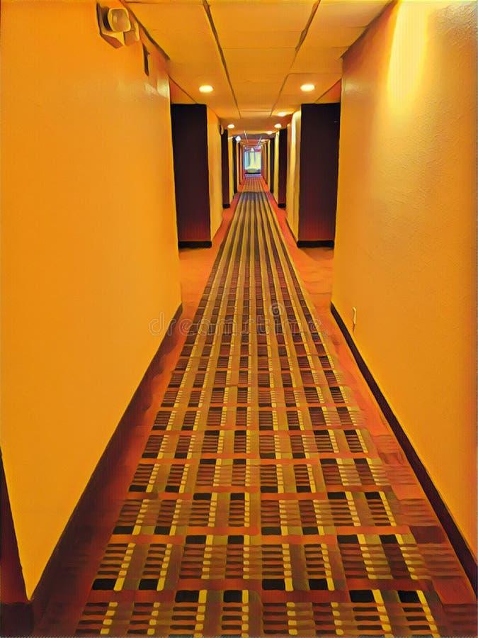 Illustration of a hotel hallway stock photos