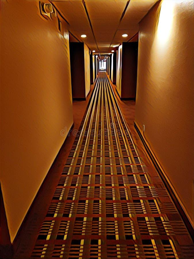 Illustration of a hotel hallway royalty free stock image