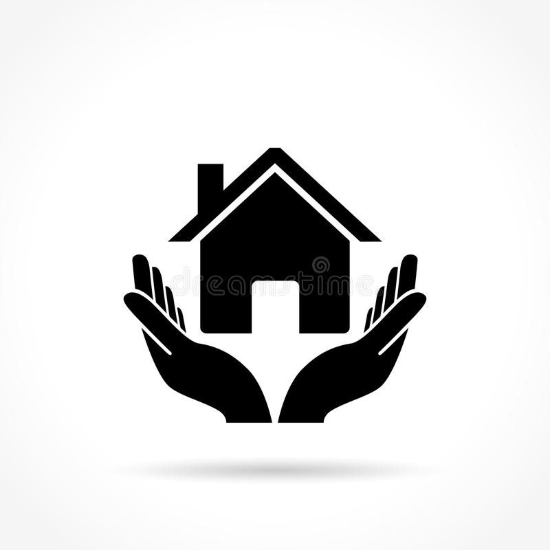 House icon with hands. Illustration of house icon with hands concept royalty free illustration