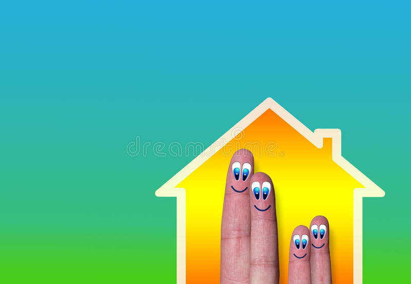 House with light and very cute family of finger. Illustration of house with light and family of cute fingers inside on green background stock illustration
