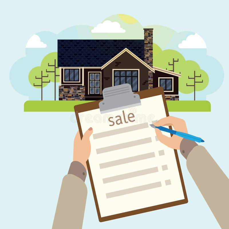 Illustration of house for sale. In the picture there is a house in the traditional style in lanshaft. Browse through the eyes of an agent stock illustration