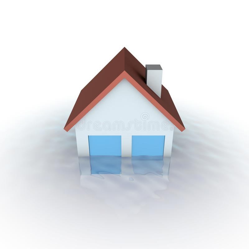 Real estate crisis concept - house under water royalty free illustration