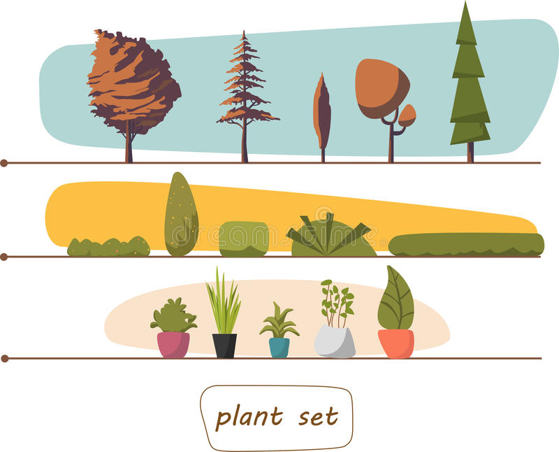 Illustration of houseplants, indoor and office plants in pot. Set trees shrubs. EPS 10 royalty free stock photo