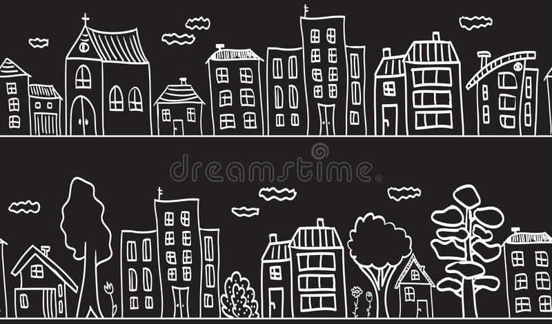 Illustration of houses and buildings - seamless royalty free illustration