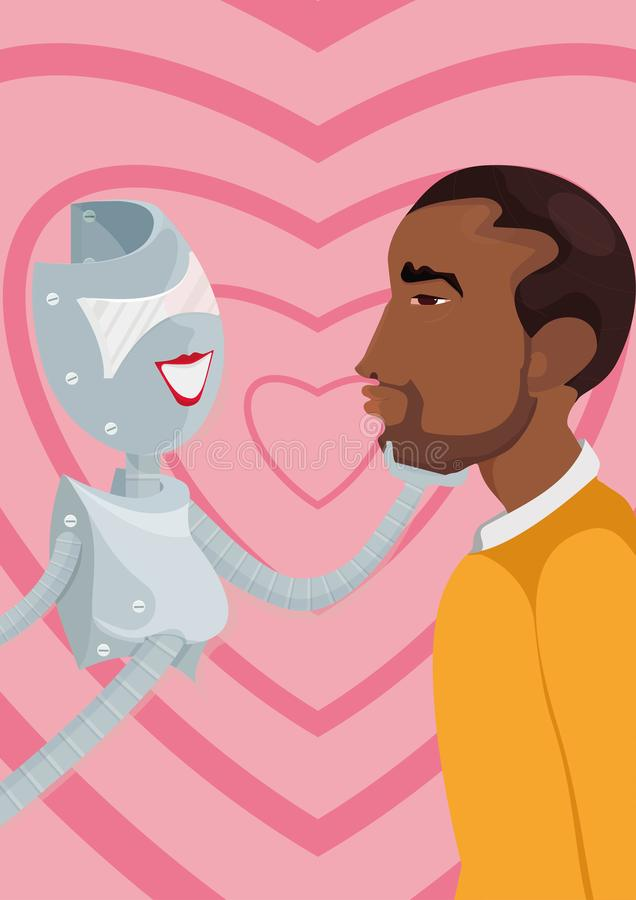 Cyber lover. A robot and a man. Illustration of how artificial intellect could replace or pretend to be your soulmate, combining characteristics, which you love stock illustration