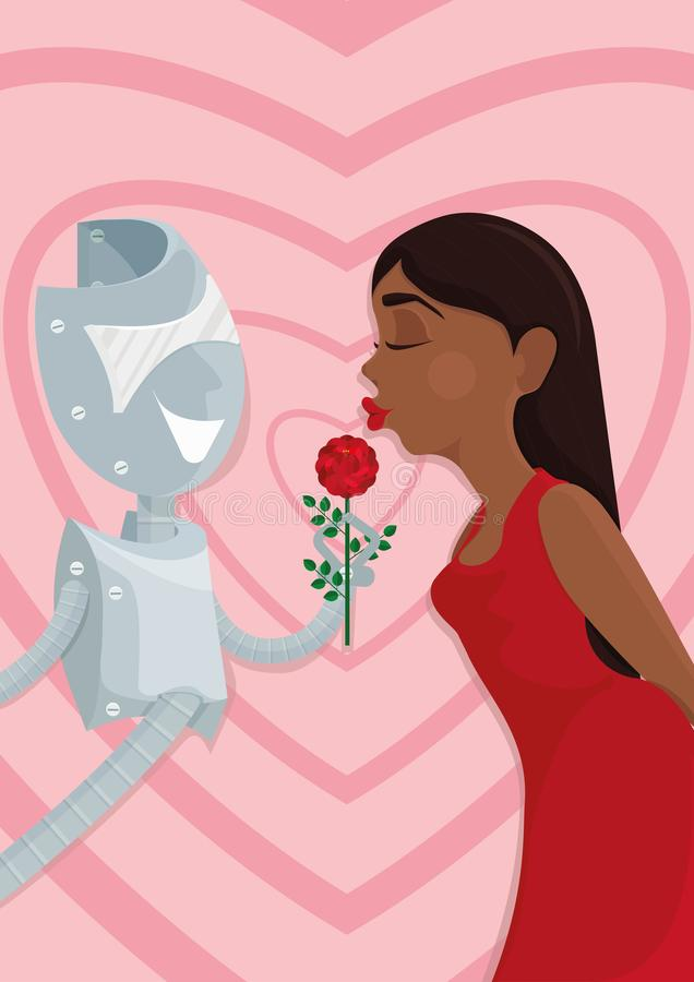 Cyber lover. A robot and a woman. Illustration of how artificial intellect could replace or pretend to be your soulmate, combining characteristics, which you stock illustration