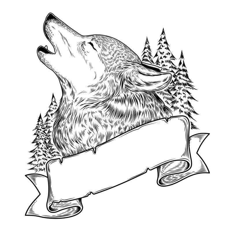 Illustration of a howling wolf with ribbon. Engraving stock illustration